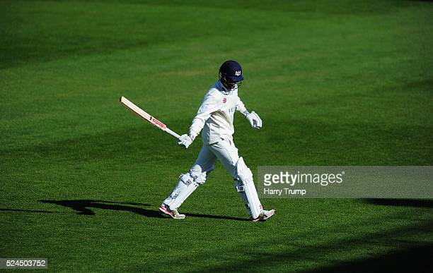 Gareth Roderick of Gloucestershire walks off after being dismissed during Day Three of the Specsavers County Championship match between...