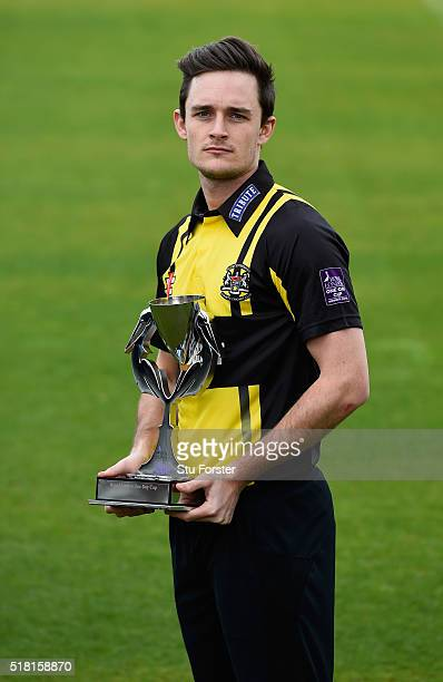 Gareth Roderick of Gloucestershire with the Royal London OneDay Cup pictured at the ECB 2016 County Cricket Season Media Launch at Old Trafford on...