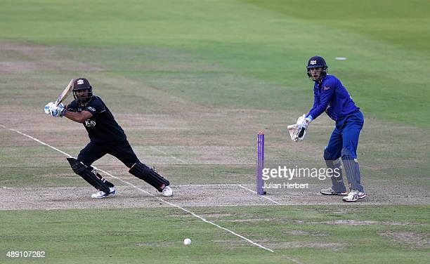 Gareth Roderick of Gloustershire looks on as Kumar Sangakkara of Surrey scores runs during the Royal London OneDay Cup Final between Surrey and...