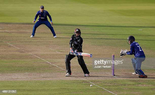 Gareth Roderick of Gloustershire looks on as Sam Curran of Surrey scores runs during the Royal London OneDay Cup Final between Surrey and...