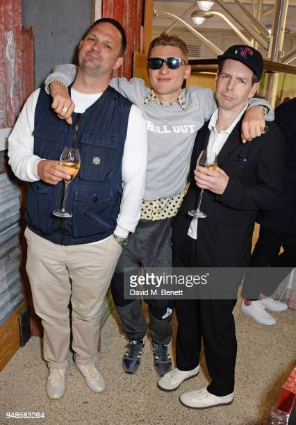 Gareth Skewis Blondey McCoy and David Owen attend the Gucci Elton John Capsule launch hosted by Dover Street Market Gucci at Dover Street Market on...