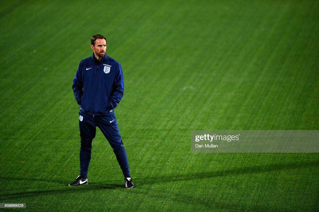Gareth Southgate ahead of an England Training Session at The LFF Stadium in Vilnius at a Media Access day on October 7, 2017 in Vilnius,