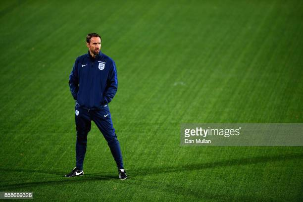 Gareth Southgate ahead of an England Training Session at The LFF Stadium in Vilnius at a Media Access day on October 7 2017 in Vilnius