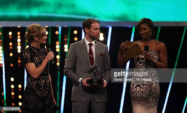 Gareth Southgate and Denise Lewis announce the Winners of Team of the Year on behalf of Leicester City during the BBC Sports Personality of the Year...