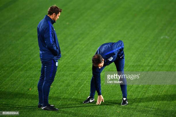 Gareth Southgate checks out the artificial grass pitch during an England Training Session at The LFF Stadium in Vilnius at a Media Access day on...