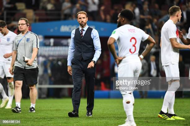 Gareth Southgate coach of England during the Semi Final FIFA World Cup match between Croatia and England at Luzhniki Stadium on July 11 2018 in...