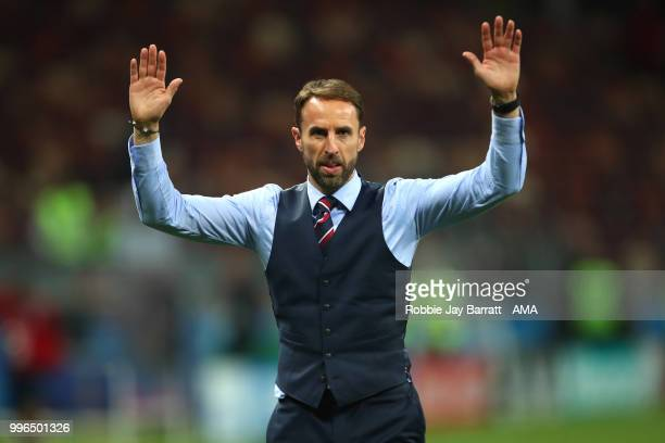Gareth Southgate head coach / manager of England acknowledges the fans at the end of the 2018 FIFA World Cup Russia Semi Final match between Croatia...