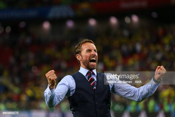 Gareth Southgate head coach / manager of England celebrates at full time during the 2018 FIFA World Cup Russia Round of 16 match between Colombia and...