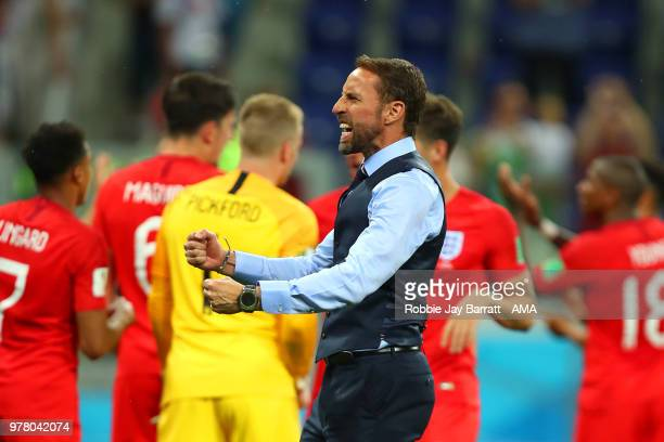Gareth Southgate head coach / manager of England celebrates at the end of the 2018 FIFA World Cup Russia group G match between Tunisia and England at...