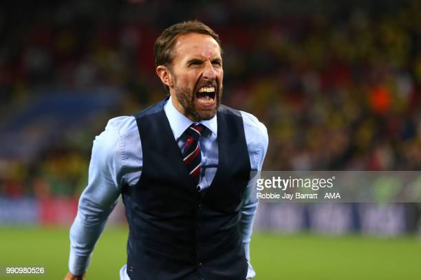 Gareth Southgate head coach / manager of England celebrates his team's victory in a penalty shootout at the end of extra time during the 2018 FIFA...