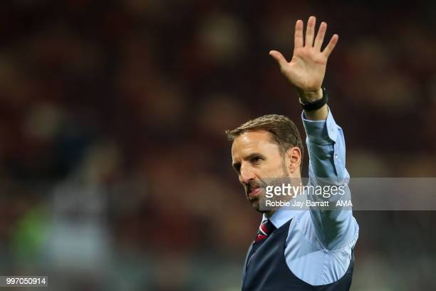 Gareth Southgate head coach / manager of England reacts and says goodbye to the fans after coming back out after full time during the 2018 FIFA World...