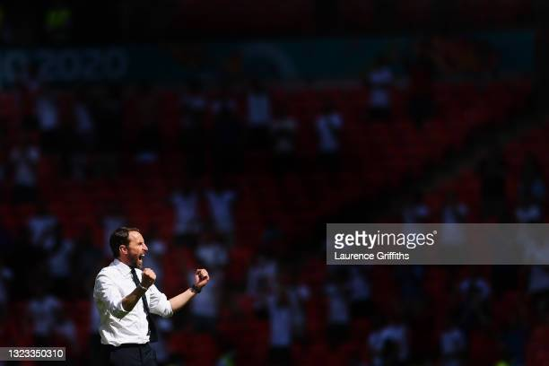 Gareth Southgate, Head Coach of England celebrates after victory in the UEFA Euro 2020 Championship Group D match between England and Croatia at...