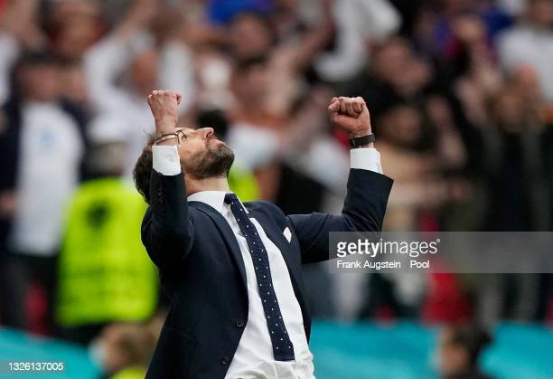 Gareth Southgate, Head Coach of England celebrates after victory in the UEFA Euro 2020 Championship Round of 16 match between England and Germany at...