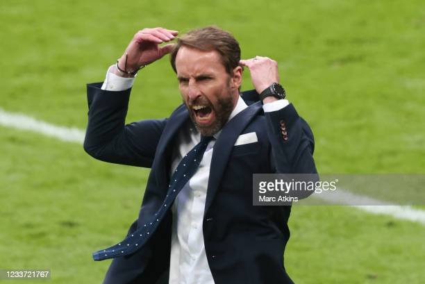 Gareth Southgate, Head Coach of England celebrates during the UEFA Euro 2020 Championship Round of 16 match between England and Germany at Wembley...