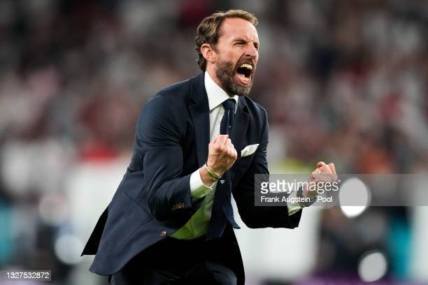 Gareth Southgate, Head Coach of England celebrates their side's victory after the UEFA Euro 2020 Championship Semi-final match between England and...