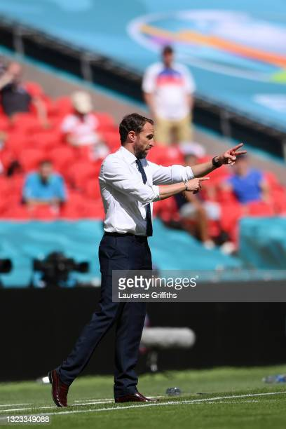 Gareth Southgate, Head Coach of England gives instructions during the UEFA Euro 2020 Championship Group D match between England and Croatia at...