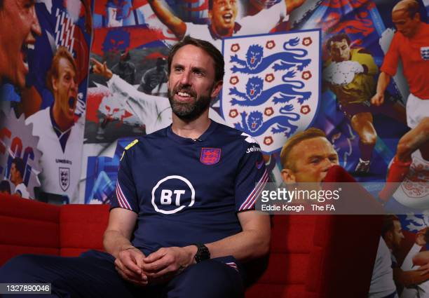 Gareth Southgate, Head Coach of England is interviewed in the Diary Room at St George's Park on July 09, 2021 in Burton upon Trent, England.
