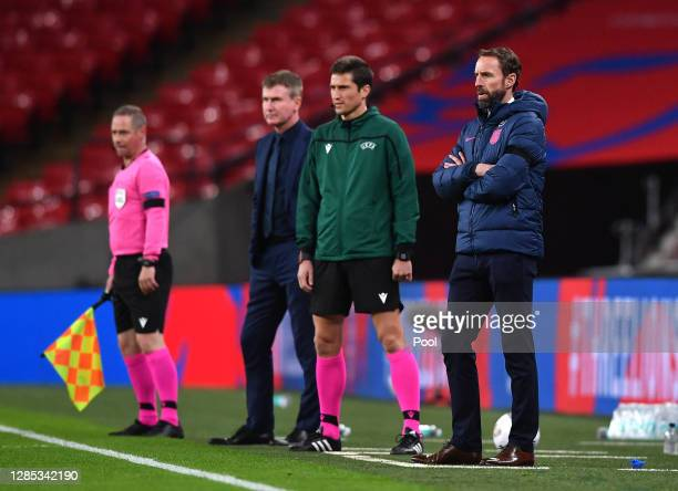 Gareth Southgate, Head Coach of England looks on during the international friendly match between England and the Republic of Ireland at Wembley...