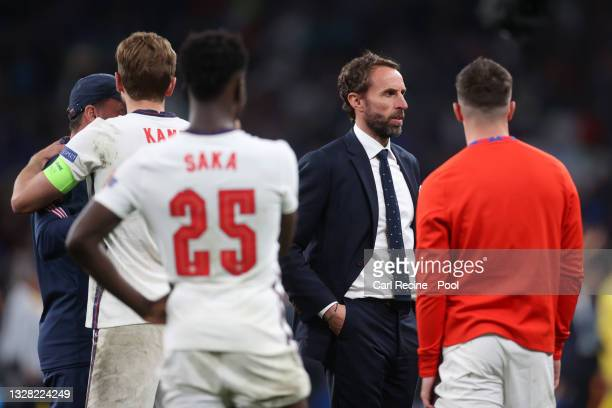 Gareth Southgate, Head Coach of England looks on following the UEFA Euro 2020 Championship Final between Italy and England at Wembley Stadium on July...