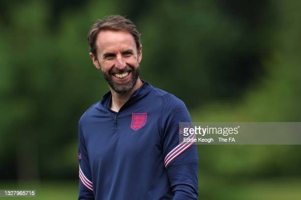 Gareth Southgate, Head Coach of England reacts during the England Training Session at St George's Park on July 10, 2021 in Burton upon Trent, England.