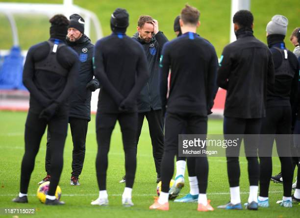 Gareth Southgate, Head Coach of England reacts during the England Training Session ahead of the UEFA Euro 2020 Qualifier match between England and...