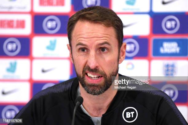 Gareth Southgate, Head Coach of England reacts during the England Press Conference ahead of the UEFA Euro 2020 Qualifier match between England and...