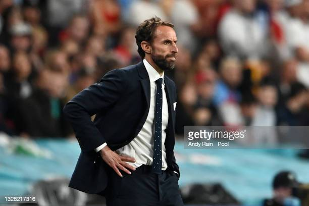 Gareth Southgate, Head Coach of England reacts during the UEFA Euro 2020 Championship Final between Italy and England at Wembley Stadium on July 11,...