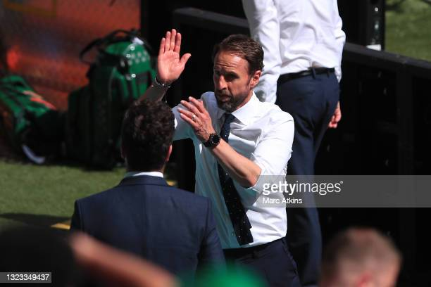 Gareth Southgate, Head Coach of England shows appreciation to the fans after the UEFA Euro 2020 Championship Group D match between England and...