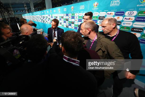 Gareth Southgate Head Coach of England speaks to the media following the UEFA Euro 2020 Final Draw Ceremony at the Romexpo on November 30 2019 in...