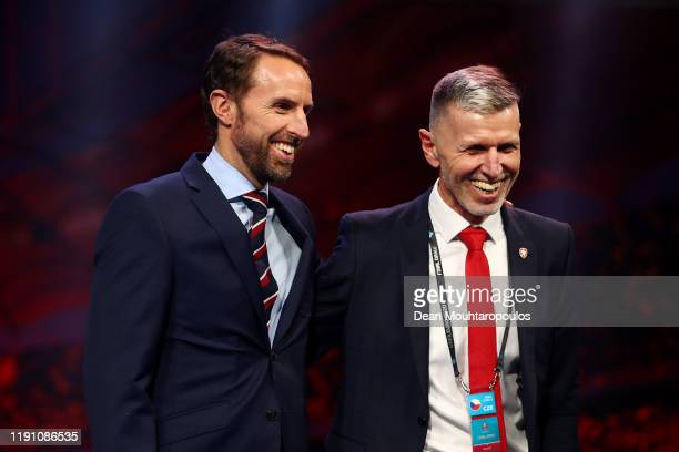 Gareth Southgate, Head Coach of England speaks with Jaroslav Silhavy, Head Coach of Czech Republic after the UEFA Euro 2020 Final Draw Ceremony at...