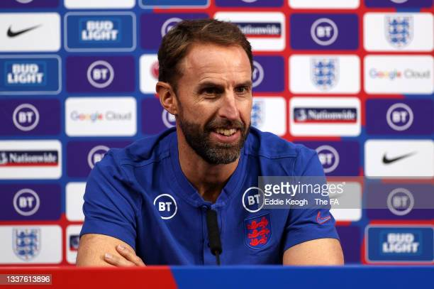 Gareth Southgate, Head Coach of England talks to the media during a press conference at St Georges Park on September 01, 2021 in Burton-upon-Trent,...