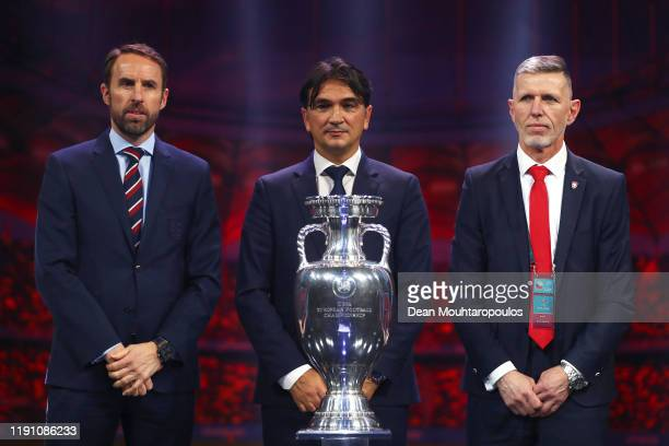 Gareth Southgate Head Coach of England Zlatko Dalic Head Coach of Croatia and Jaroslav Silhavy Head Coach of Czech Republic pose with the Henri...