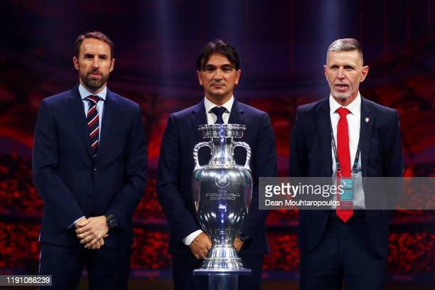 Gareth Southgate, Head Coach of England, Zlatko Dalic, Head Coach of Croatia, and Jaroslav Silhavy, Head Coach of Czech Republic pose with the Henri...
