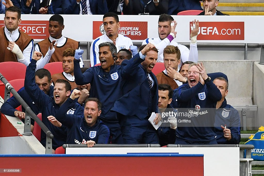 Gareth Southgate, Interim Manager of England celebrates his team's second goal during the FIFA 2018 World Cup Qualifier Group F match between England and Malta at Wembley Stadium on October 8, 2016 in London, England.