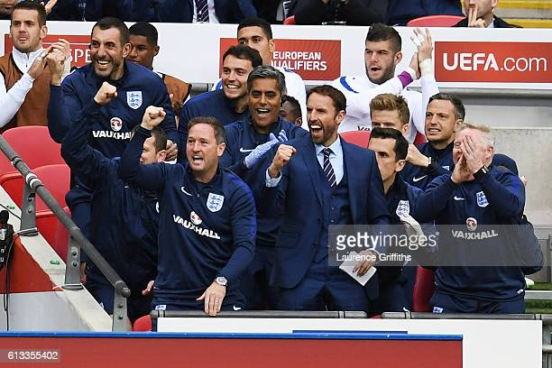 Gareth Southgate Interim Manager of England celebrates his team's second goal during the FIFA 2018 World Cup Qualifier Group F match between England...
