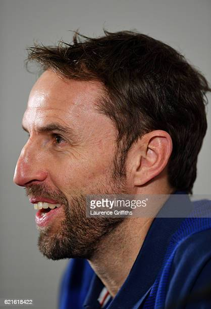 Gareth Southgate Interim Manager of England speaks during a press conference at St George's Park on November 7 2016 in BurtonuponTrent England