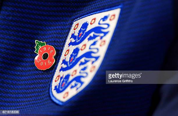 Gareth Southgate, Interim Manager of England wears a poppy during a press conference at St George's Park on November 7, 2016 in Burton-upon-Trent,...