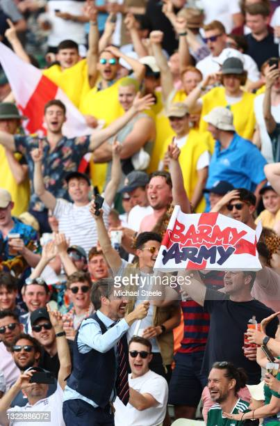 Gareth Southgate look a like appears to great rapture in the Hollies stand during day one of the second Test Match between England and New Zealand at...