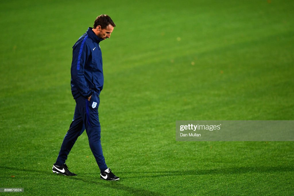 Gareth Southgate looks at the artificial grass pitch during an England Training Session at The LFF Stadium in Vilnius at a Media Access day on October 7, 2017 in Vilnius,