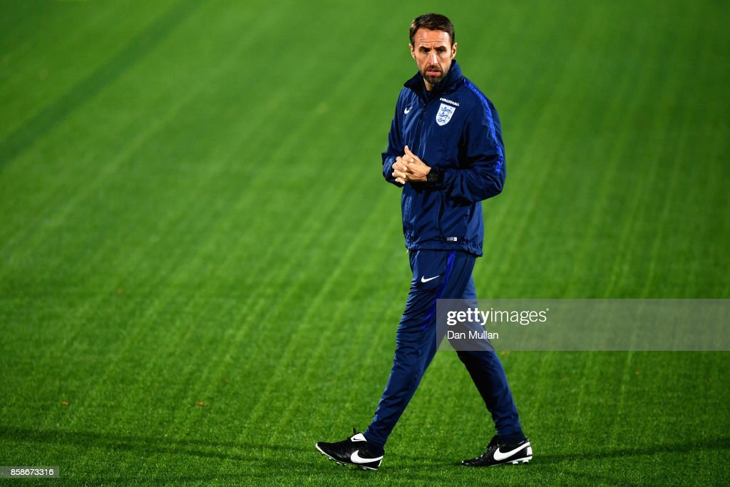 Gareth Southgate looks on during an England Training Session at The LFF Stadium in Vilnius at a Media Access day on October 7, 2017 in Vilnius,