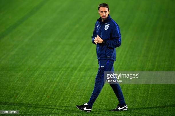 Gareth Southgate looks on during an England Training Session at The LFF Stadium in Vilnius at a Media Access day on October 7 2017 in Vilnius
