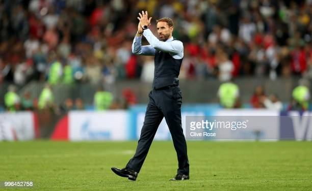 Gareth Southgate Manager of England acknowledges the fans following the deafeat in the 2018 FIFA World Cup Russia Semi Final match between England...
