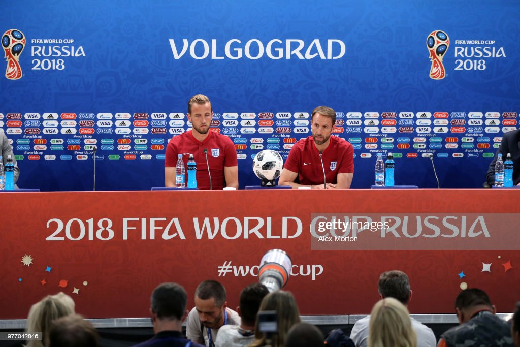 Gareth Southgate, Manager of England and Harry Kane of England speak to media during the England press conference ahead of the 2018 FIFA World Cup match against Tunisia, at Volgograd Arena on June 17, 2018 in Volgograd, Russia.