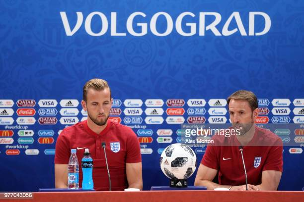 Gareth Southgate Manager of England and Harry Kane of England speak to media during the England press conference ahead of the 2018 FIFA World Cup...