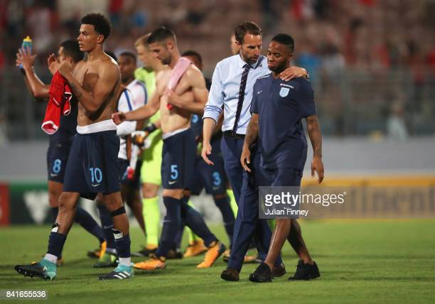 Gareth Southgate manager of England and Raheem Sterling of England in discussion after the FIFA 2018 World Cup Qualifier between Malta and England at...
