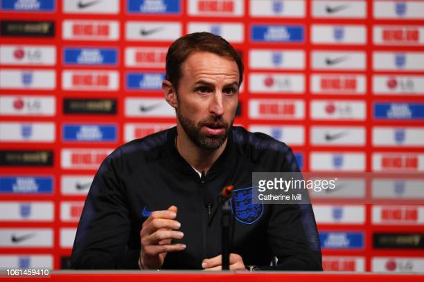 Gareth Southgate manager of England attends an England press conference at Wembley Stadium on November 14 2018 in London England