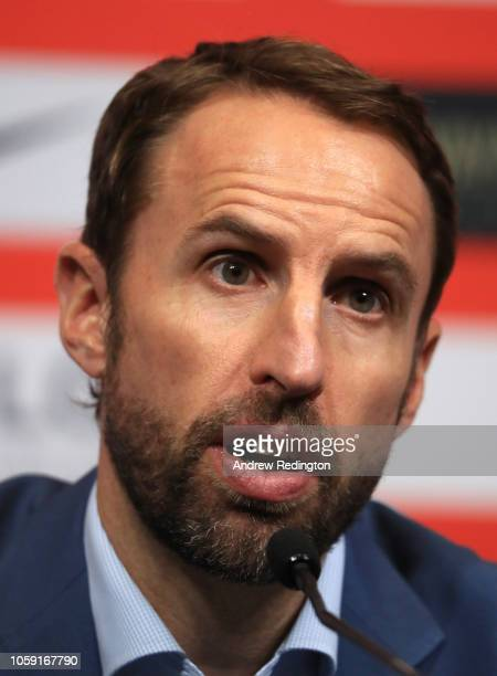 Gareth Southgate manager of England attends an England press conference to announce the squad for the upcoming international matches at Wembley...