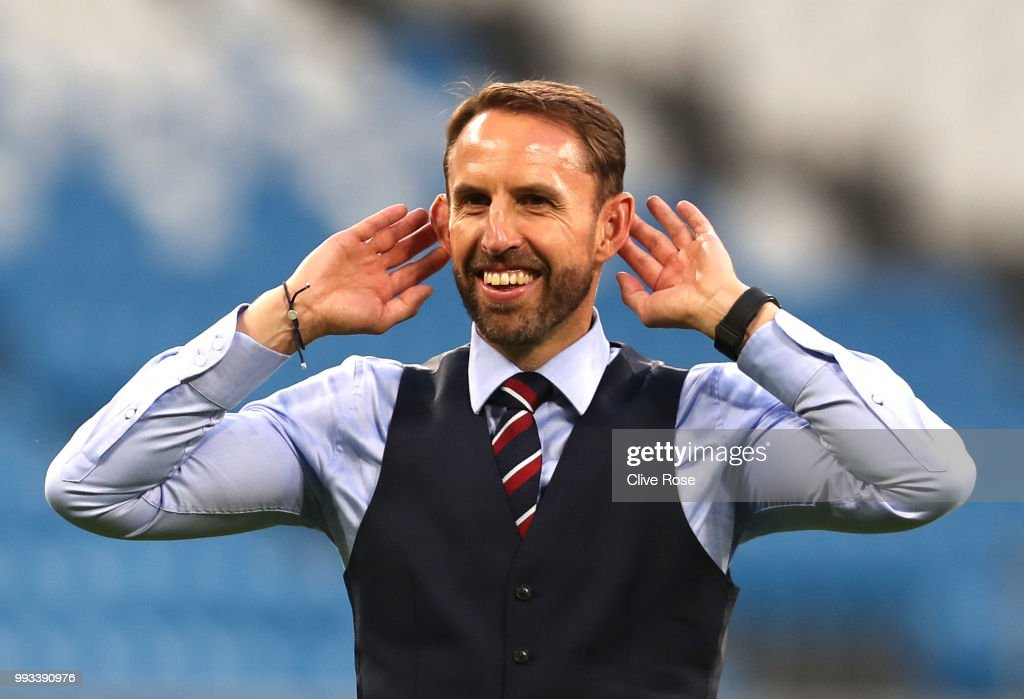 Gareth Southgate, Manager of England celebrates at the final whistle following victory during the 2018 FIFA World Cup Russia Quarter Final match between Sweden and England at Samara Arena on July 7, 2018 in Samara, Russia.