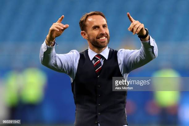 Gareth Southgate Manager of England celebrates at the final whistle following victory during the 2018 FIFA World Cup Russia Quarter Final match...