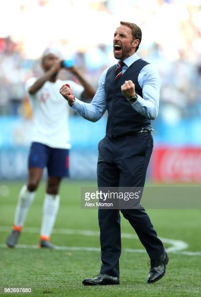 Gareth Southgate Manager of England celebrates following his sides victory in the 2018 FIFA World Cup Russia group G match between England and Panama...
